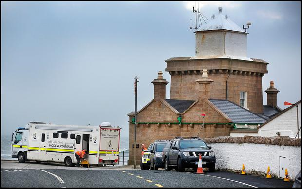 The search and rescue at first light at Blacksod Pier after the Rescue 116 helicopter crash. Pic Steve Humphreys 15th March 2017