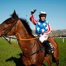 Noel Fehily celebrates after winning the 3.30 Betway Queen Mother Champion Chase on Special Tiara. Photo: Reuters