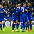 March 14th 2017, King Power Stadium, Leicester, England; UEFA Champions League Football 2nd Leg, Leicester City versus Seville; Leicester City players celebrate victory at the end of the match (Photo by Graham Wilson/Action Plus via Getty Images)