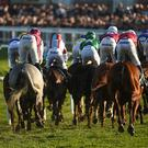 Cheltenham , United Kingdom - 15 March 2017; A general view of the runners and riders in the Fred Winter Juvenile Handicap Hurdle during the Cheltenham Racing Festival at Prestbury Park in Cheltenham, England. (Photo By Cody Glenn/Sportsfile via Getty Images)