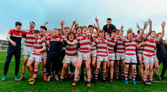 Coláiste Iognáid players celebrate after winning the Connacht Schools Senior Cup final. Photo: Sportsfile