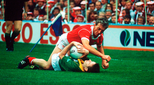 Conor Counihan in action against Bernard Flynn during Cork's victory against Meath in the 1990 All-Ireland football final. Photo: Sportsfile
