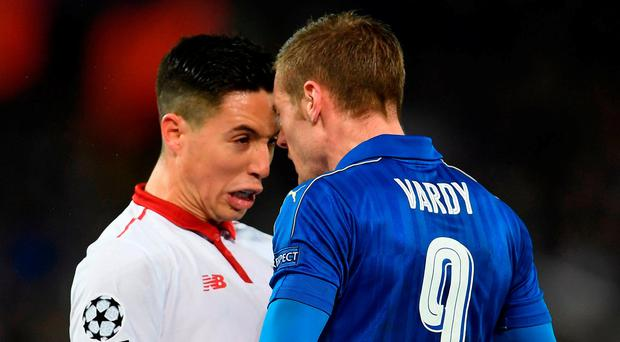 Samir Nasri and Jamie Vardy butt heads. Photo: Laurence Griffiths/Getty Images
