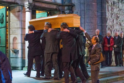 Eamonn Casey's remains are brought into Galway cathedral. Photo: Tony Gavin
