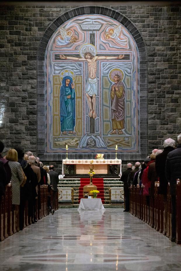 The coffin of Bishop Eamonn Casey rests in the Cathedral of Our Lady Assumed into Heaven and St. Nicholas in Galway. Photo: Tony Gavin