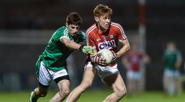 15 March 2017; Aidan Browne of Cork in action against Kieran Daly of Limerick during the EirGrid Munster GAA Football U21 Championship Semi-Final match between Cork and Limerick at Pairc Ui Rinn in Cork. Photo by Eóin Noonan/Sportsfile