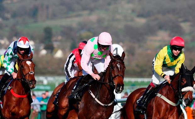 Ruby Walsh and Douvan in the mix during the early stages of yesterday's Queen Mother Champion Chase. Photo: PA