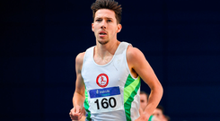 In Athlone tomorrow, Robinson (pictured) will run the third leg on an Irish team that includes Eoin Everard, John Travers and Sean Tobin, which will attempt to break the four-by-one-mile mile indoor world record of 16:12.81. Photo by Brendan Moran/Sportsfile