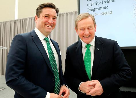 Taoiseach Enda Kenny with John Concannon, director of Creative Ireland, at the launch in Washington of the Ireland.ie web portal. Photo: Gerry Money