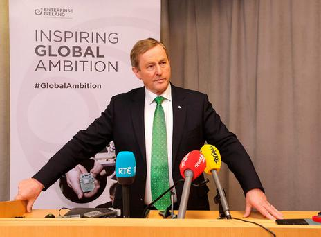 Taoiseach Enda Kenny pictured at a media briefing in the US Institute of Peace in Washington. Photo: Gerry Money