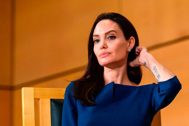 US actress and United Nations High Commissioner for Refugees (UNHCR) special envoy Angelina Jolie attends the annual lecture of the Sergio Vieira de Mello Foundation at United Nations (UN) office in Geneva on March 15, 2017. / AFP PHOTO / Fabrice COFFRINIFABRICE COFFRINI/AFP/Getty Images