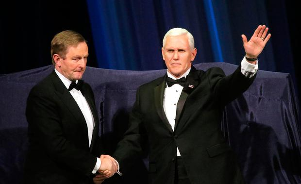 Ireland Funds Dinner, Washington Museum. Taoiseach Enda Kenny and US Vice President Mike Pence. Picture; Gerry Mooney