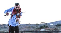 Fiddle-player Aindrias de Staic (39) had his laptop stolen and lost his fiddle in a fire in Melbourne, Australia