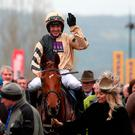 Jockey Ruby Walsh celebrates winning the JLT Novices' Chase on Yorkhill
