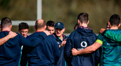 Ireland head coach Joe Schmidt talks to the players