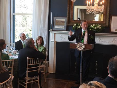 Enda Kenny speaking at a breakfast hosted by US VP Mike Pence