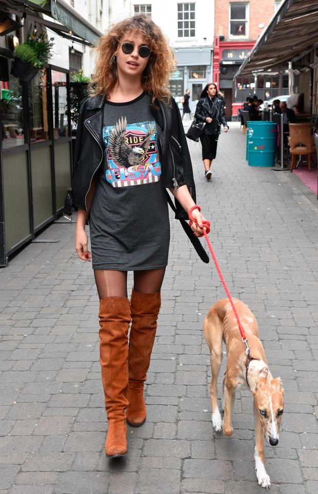 Thalia Heffernan spotted walking her dog Leonard in thigh high boots on Coppinger Row, Dublin