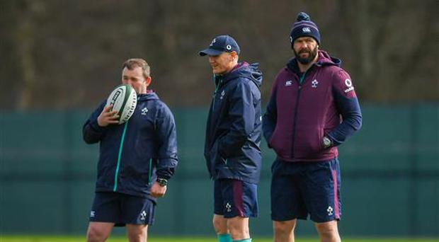 16 March 2017; Ireland head coach Joe Schmidt, centre, with Ireland kicking coach Richie Murphy, left, and Ireland defence coach Andy Farrell during Ireland rugby squad training at Carton House in Maynooth, Co Kildare. Photo by Stephen McCarthy/Sportsfile