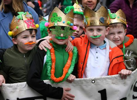 Pictured are, from left, Mason Meehan (7), Rhys Creen (7), Luke Lawless (7) and Troy Kelly (7) from St Laurence O'Toole National Boys School today at the Sheriff Street Community Parade for St.Patrick's Day, proudly supported by the Croke Park Community Fund. Photo: Mark Stedman