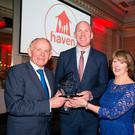 Leslie Buckley, chairman and founder of charity Haven and his wife Carmel make a presentation to former Irish and Munster Rugby legend Paul O'Connell honouring the contribution he has made to Irish rugby and his charity work at a function held in the Shelbourne Hotel. Also included is former Irish and Munster player Alan Quinlan. Pic:Mark Condren 16.3.2017