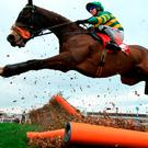 Jezki ridden by jockey Robbie Power in action during yesterday's Stayers' Hurdle. Photo: PA