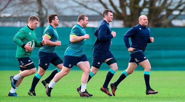 Ireland captain Rory Best, right, with team-mates, from left, Sean O'Brien, CJ Stander, Jack McGrath, and Peter O'Mahony during squad training at Carton House, Maynooth, Co Kildare. Photo: Matt Browne/Sportsfile