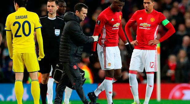 Manchester United's Paul Pogba goes off injured during the UEFA Europa League Round of Sixteen, Second Leg match at Old Trafford, Manchester. PRESS ASSOCIATION Photo. Picture date: Thursday March 16, 2017. See PA story SOCCER Man Utd. Photo credit should read: Martin Rickett/PA Wire