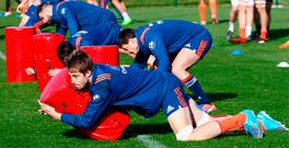 France's Julien Le Devedec during training ahead of tomorrow's clash against Wales. Photo: AP Photo/Francois Mori