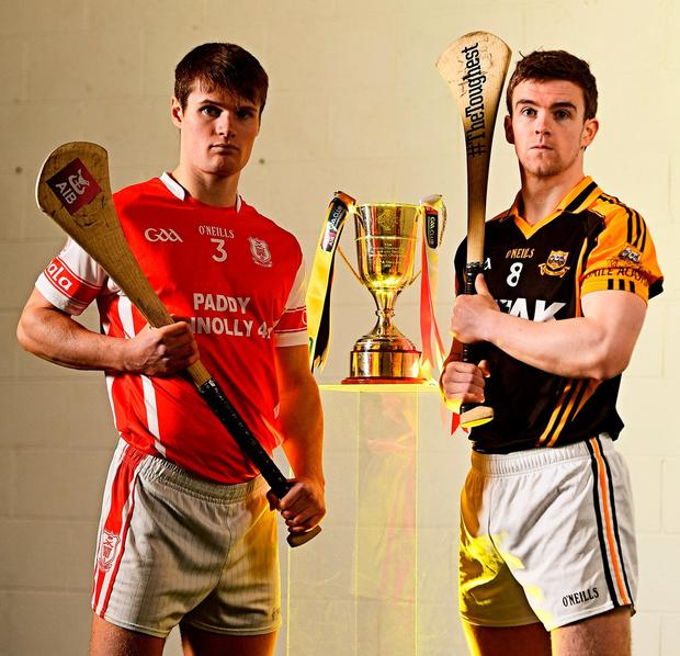 Ballyea's Tony Kelly (right) and Cian O'Callaghan from Cuala who will both be hoping to lift the trophy at Croke Park today. Photo: Ramsey Cardy/Sportsfile