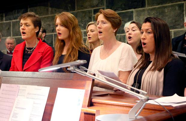 Nieces of the bishop sing at the cathedral in Galway Photo: Tony Gavin