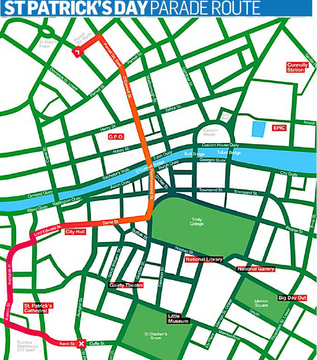 Street closures during St. Patrick's Day Parade
