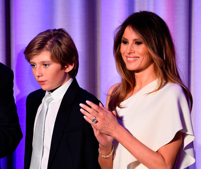 The President's wife Melania Trump and their son Barron