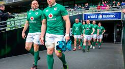 Ireland captain Rory Best (left) walks out with CJ Stander (centre) followed by the Irish team before the Captain's Run