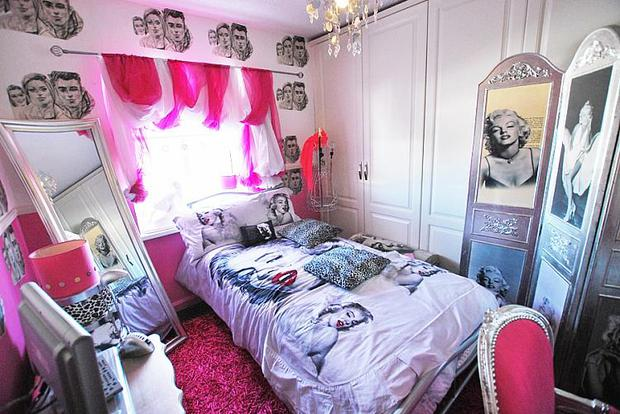 The Hollywood theme runs through the home's three bedrooms, each decked out in Marilyn Monroe bedspreads