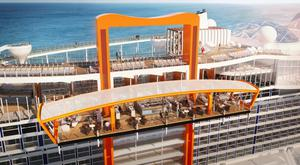 The Magic Carpet spans 16 storeys on the ship. This picture also shows the raised hot-tubs in the pool area and the running track.