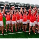 The Cuala team perform the Icelandic thunderclap after the AIB GAA Hurling All-Ireland Senior Club Championship Final match between Ballyea and Cuala at Croke Park in Dublin. Photo by Brendan Moran/Sportsfile