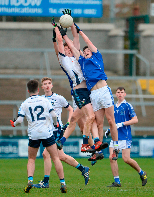 Conor O'Neill of St. Mary's Grammar School in action against Keelan McCann of St. Colman's College. Photo by Oliver McVeigh/Sportsfile