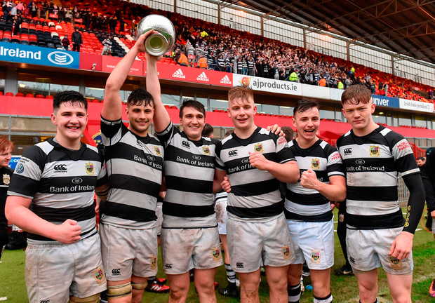 Presentation Brothers Cork players celebrate after beating Glenstal to win the Munster Schools Senior Cup Picture: Sportsfile