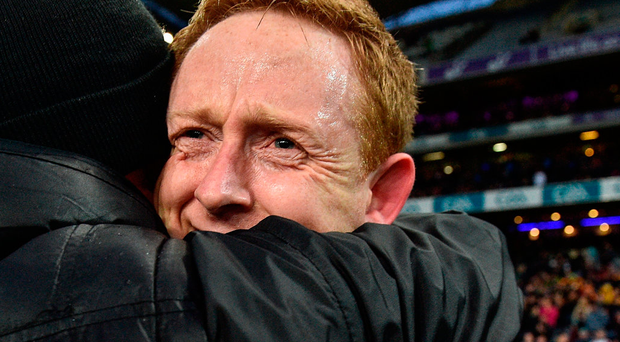 Colm Cooper sheds tears of joy as he celebrates Dr Crokes' victory over Slaughtneil seconds after the final whistle. Photo: Sportsfile
