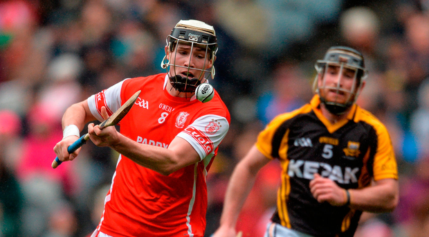 Jake Malone fires home Cuala's second goal against Ballyea yesterday. Photo: Sportsfile