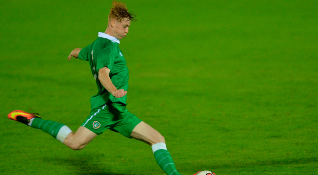 McAuley struck the only goal of Ireland's second elite group tie against Slovakia. Photo by Eóin Noonan/Sportsfile