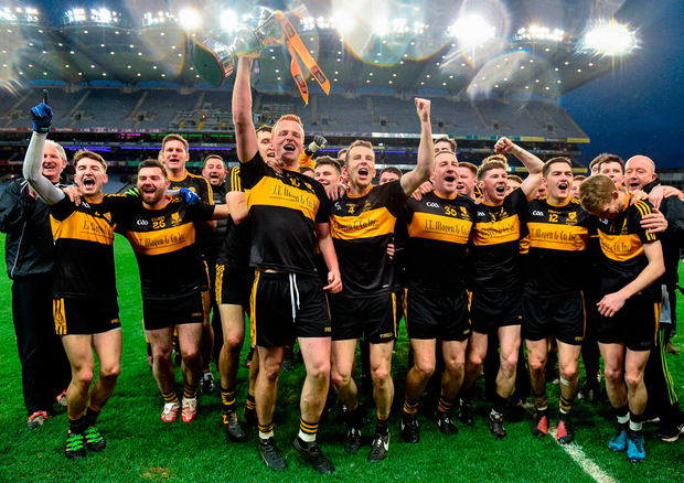 The Dr. Crokes captain Johnny Buckley and his team celebrate with the Andy Merrigan Cup. Photo: Sportsfile