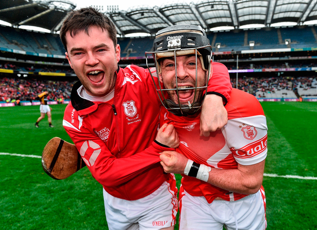 Cillian Sheanon, left, and Colum Sheanon of Cuala celebrate their win. Photo: Sportsfile