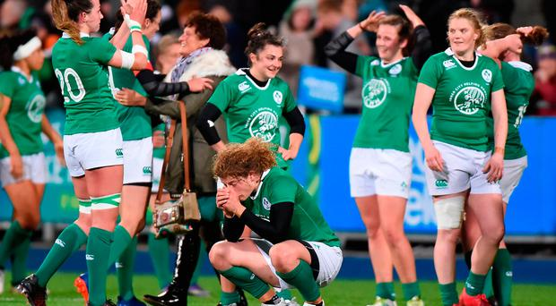 Jenny Murphy of Ireland and her team-mates after the RBS Women's Six Nations Rugby Championship match between Ireland and England at Donnybrook Stadium