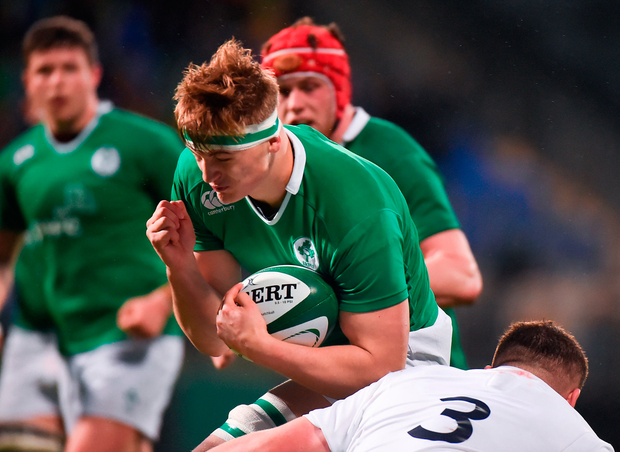 Gavin Coombes is tackled by Ciaran Knight. Photo: Sportsfile
