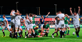England players celebrate after the final whistle in their U-20 Six Nations clash against Ireland at Donnybrook. Photo: Sportsfile