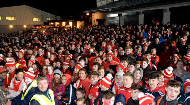 All Ireland Hurling Champions Cuala fans at their homecoming in Dalkey tonight. Pic: Justin Farrelly.