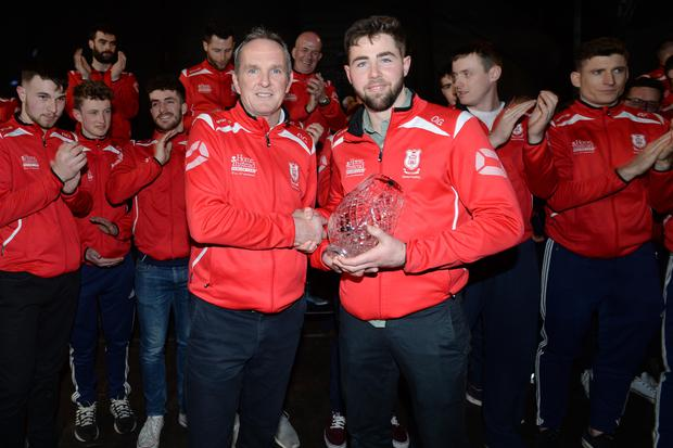 Captain Oisin Gough with Manager Mattie Kenny All Ireland Hurling Champions Cuala at their homecoming in Dalkey tonight. Pic: Justin Farrelly.