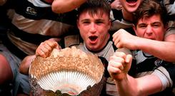 Max Kearney and his Belvedere College team-mates celebrate following the Bank of Ireland Leinster Schools Senior Cup Final. Photo: Sportsfile