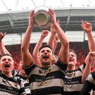 PBC captain Jack O'Sullivan and team-mates celebrate with the cup. Photo: Sportsfile